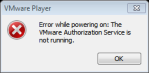 VMWare Player Authorization Service is not running